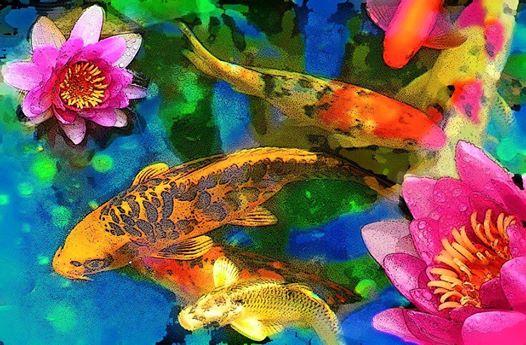Illustration poisson et fleurs de lotus -Koi Play fish