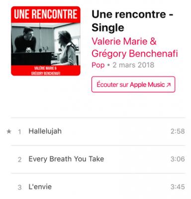 Un single de Valérie marie et de Gregory Benchenafi chanteur