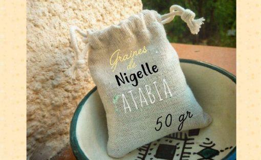Sachet en lin de graines de Nigelle Nigella Sativa