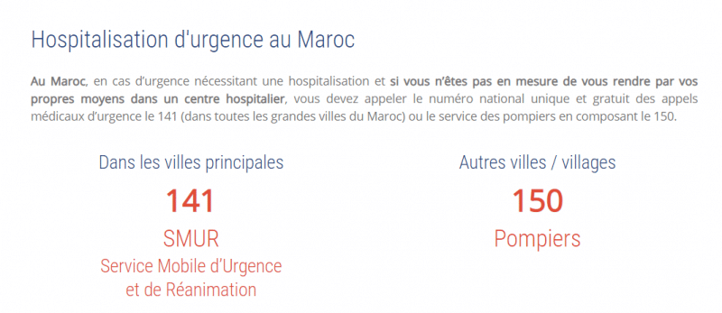 Numéro d'urgence au Maroc