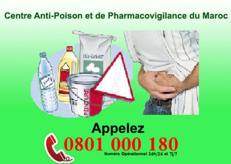Numéro du centre anti poison du maroc 0801 000 180